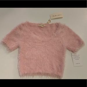 NWT For Love & Lemons Fuzzy Knitz Pink Crop